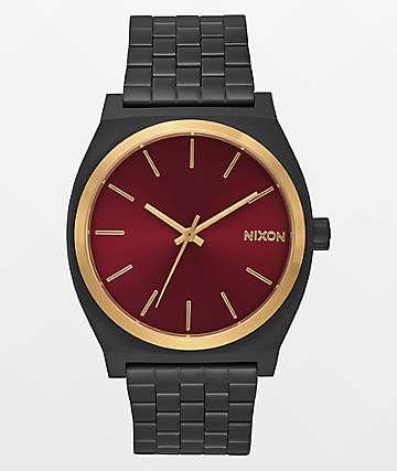 Nixon Time Teller reloj en negro, dorado y borgoña con acabado mate