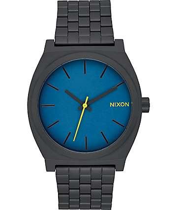 Nixon Time Teller reloj en negro y color azul