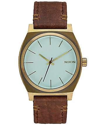 Nixon Time teller Leather Brass & Crystal Green Watch