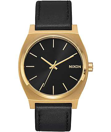 Nixon Timeteller Leather Gold, Black & Black Analog Watch