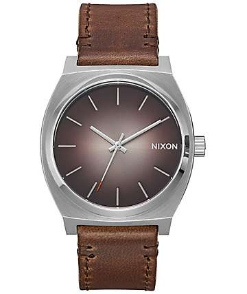 Nixon Timeteller Leather Ombre reloj analógico en gris pardo
