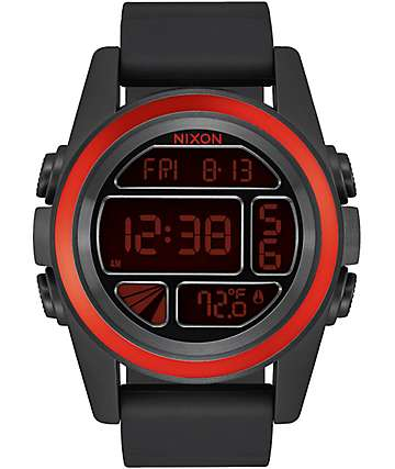 Nixon Unit Mashed Black & Red Digital Watch