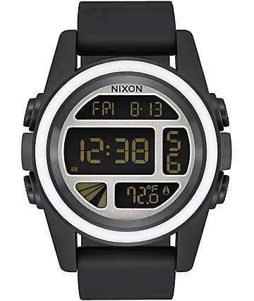 Nixon Unit Mashed reloj digital en negro, blanco y plata