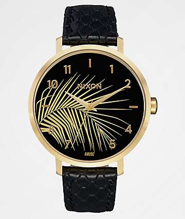 Nixon x Amuse Society Arrow Leather Rose Gold, Black Palm Watch