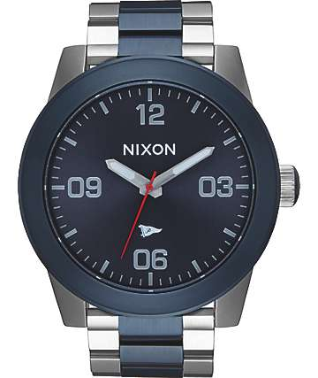 Nixon x Primitive Corporal SS Silver & Blue Watch