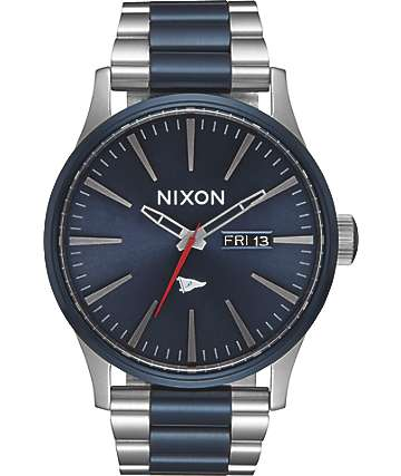 Nixon x Primitive Sentry Silver & Blue Watch
