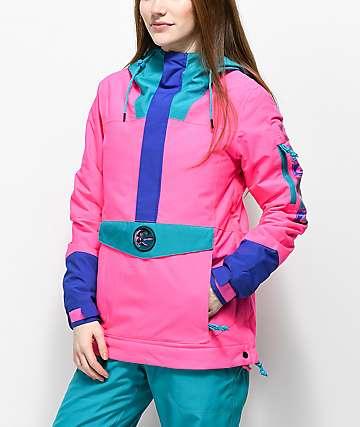 O'Neill 88' Frozen Wave Neon Pink 10K Anorak Snowboard Jacket