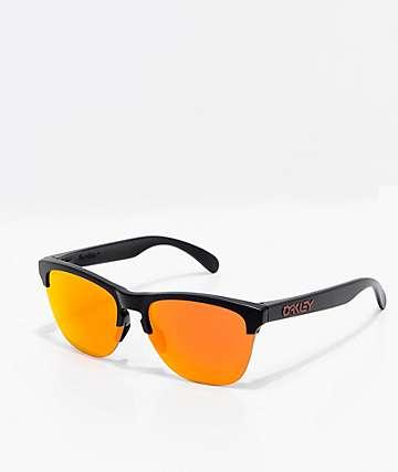 Oakley Frogskins Lite Black & Ruby Prizm Sunglasses