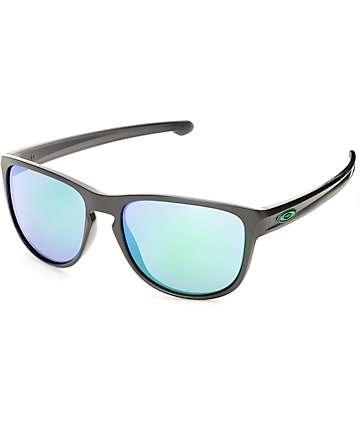 Oakley Sliver R Matte Black & Jade Iridium Sunglasses
