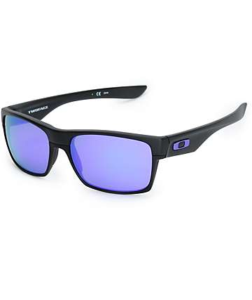 Oakley Two Face Matte Black & Violet Iridium Sunglasses