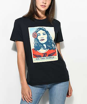 "Obey ""We The People"" Defend Dignity Black Womens T-Shirt"