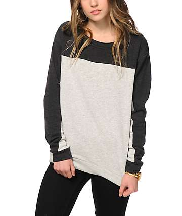 Obey Anise Grey Colorblock Crew Neck Sweatshirt