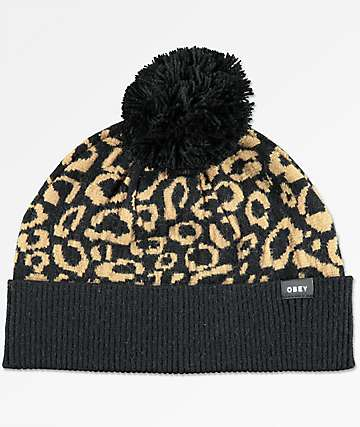 Obey Anise Leopard Pom Beanie