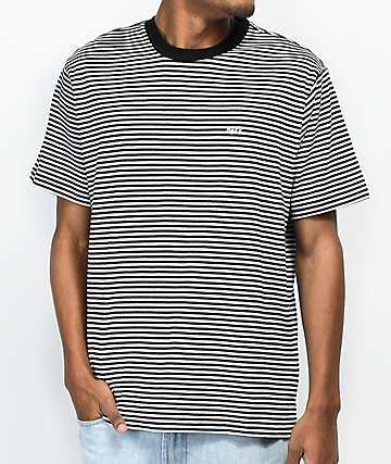 Obey Apex Black & White Striped Knit T-Shirt