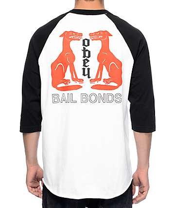 Obey Bail Bonds White & Black Baseball T-Shirt