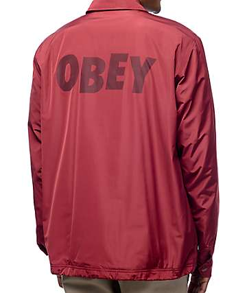 Obey Baker Graphic Burgundy Coaches Jacket
