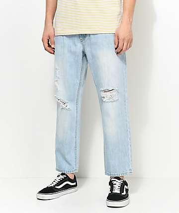 Obey Bender 90s jeans rotos cortados en azul claro