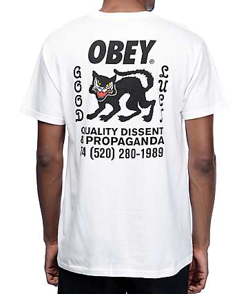Obey Black Cat Premium White T-Shirt