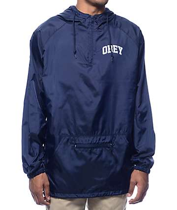 Obey Block Font Navy Anorak Windbreaker
