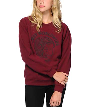 Obey Bock Posse Flocking Maroon Crew Neck Sweatshirt