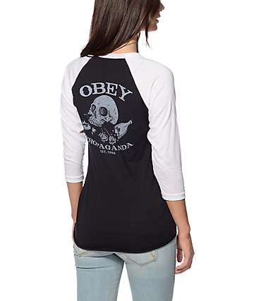 Obey Broken Bottles Black & White Baseball Tee