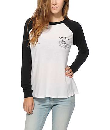 Obey Broken Bottles Long Sleeve Raglan Shirt