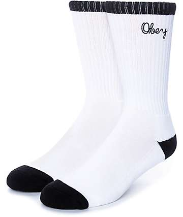 Obey Brooks White & Black Crew Socks