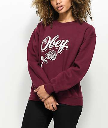 Obey Careless Whispers Burgundy Crew Neck Sweatshirt