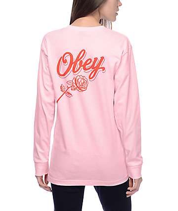 Obey Careless Whispers Pink Long Sleeve T-Shirt