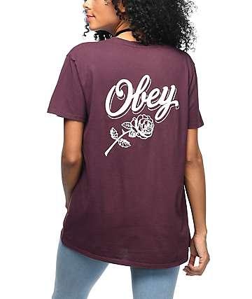 Obey Careless Whispers camiseta en color vino