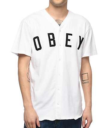Obey Charlie jersey de béisbol en blanco
