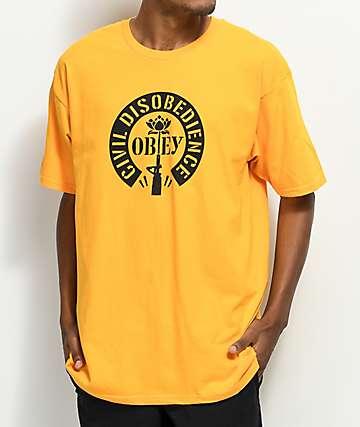 Obey Civil Disobedience camiseta en color dorado