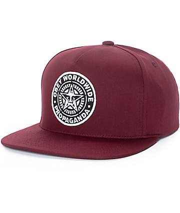 Obey Classic Patch Burgundy Snapback Hat