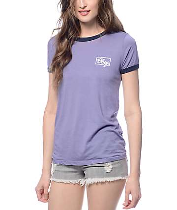 Obey Club Script Blue Violet Ringer T-shirt