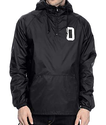 Obey Collegiate O Lined Black Anorak Jacket