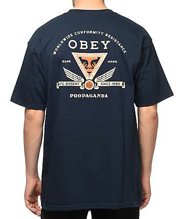 Obey Conformity Resist Navy T-Shirt