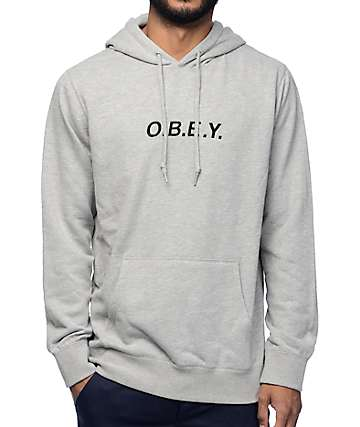 Obey Contorted Heather Grey Pullover Hoodie