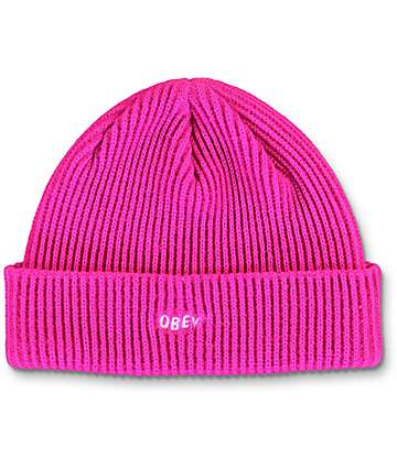 Obey Contorted Magenta Beanie