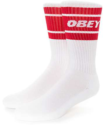 Obey Cooper II White & Red Crew Socks