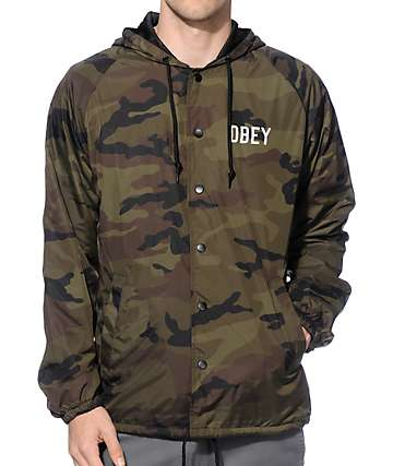 Obey Corner Block Camo Hooded Coach Jacket