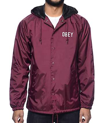 Obey Corner Block Maroon Hooded Coach Jacket