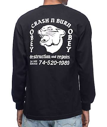Obey Crash And Burn Black Long Sleeve T-Shirt