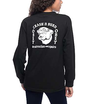 Obey Crash N Burn Black Long Sleeve T-Shirt