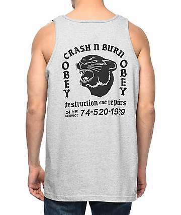 Obey Crash N Burn Heather Grey Tank Top