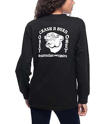 Obey Crash N Burn camiseta manga larga negra