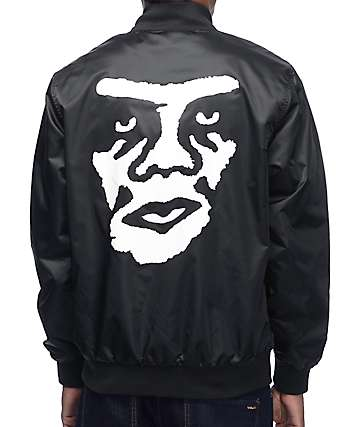Obey Creeper Black Satin Bomber Jacket