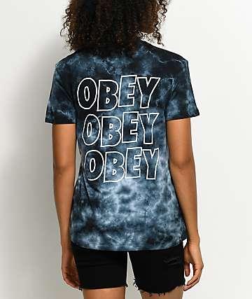 Obey Creeper Status camiseta negra con efecto tie dye