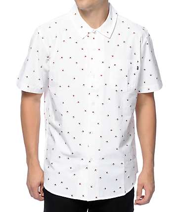 Obey Crimson White Button Up Shirt