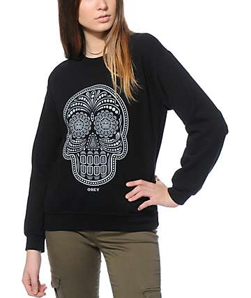Obey Day Of The Dead Black Crew Neck Sweatshirt