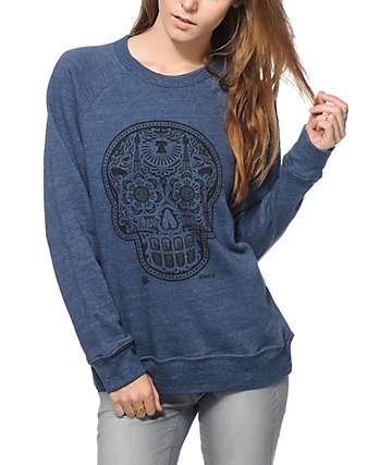 Obey Day Of The Dead Blue Crew Neck Sweatshirt